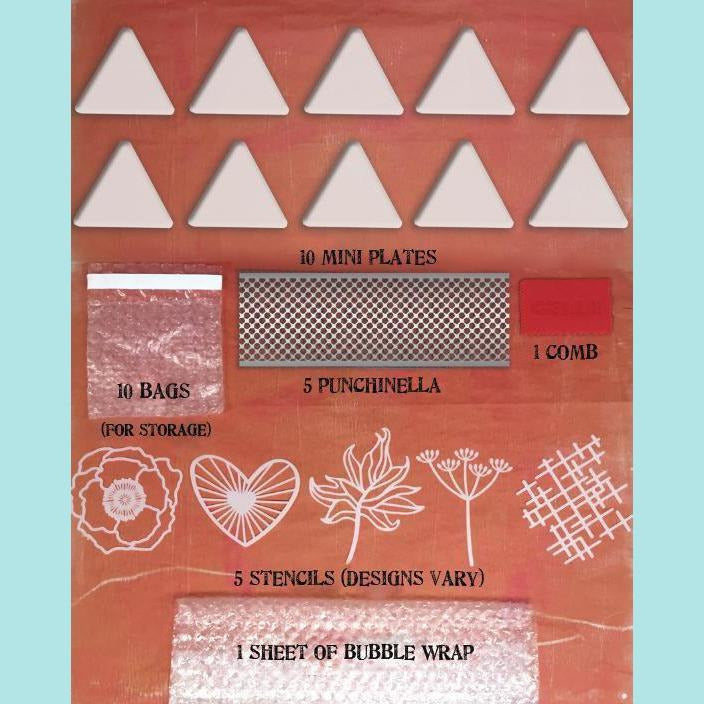 GELLI ARTS - Mini Plate Class Pack - Contains 10 Triangle Shaped Mini Plates & Accessories