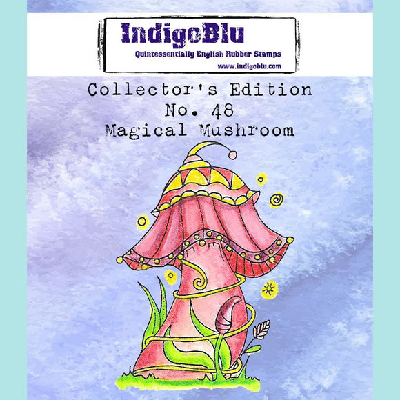 IndigoBlu - Collectors Edition - Number 48 - Magical mushroom Red Rubber Stamp