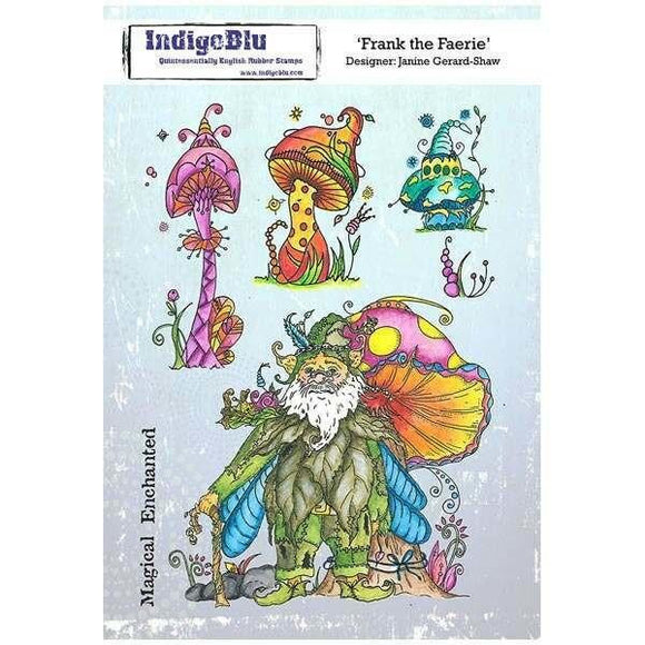 IndigoBlu - Frank the Faerie A5 Red Rubber Stamp