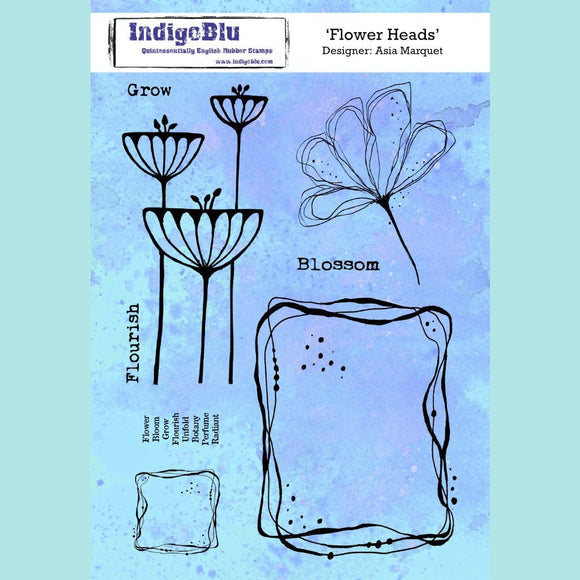 IngoBlu - Flower Heads A5 Red Rubber Stamp