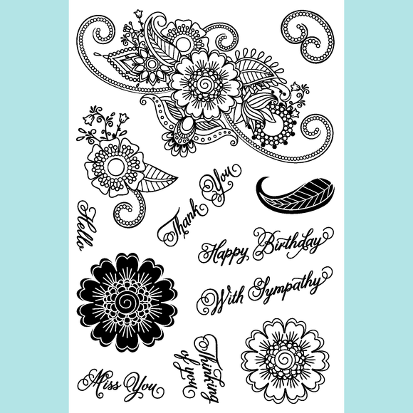 Joy Clair Paisley Bouque Stamp Set