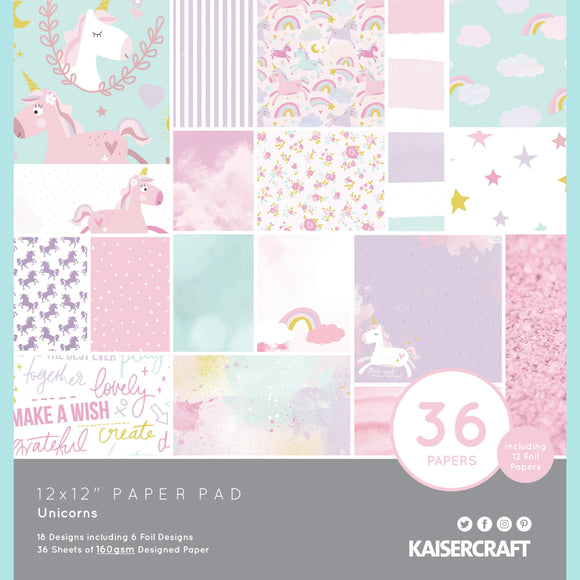 KaiserCraft - 12x12 Paper Pad - Unicorns 36 papers