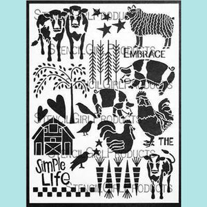 StencilGirl -  On the Farm Stencil