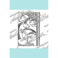 Laurel Burch Horse Friends Rubber Stamp