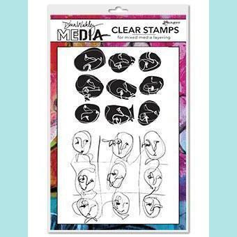 Dina Wakley Media Clear Stamps - Funky Faces Background