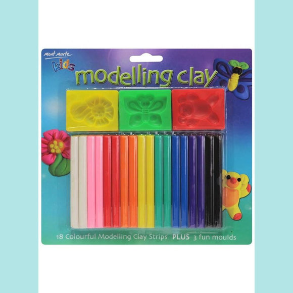 Mont Marte - Kids Colour Modelling Clay Set w/Moulds 21pce