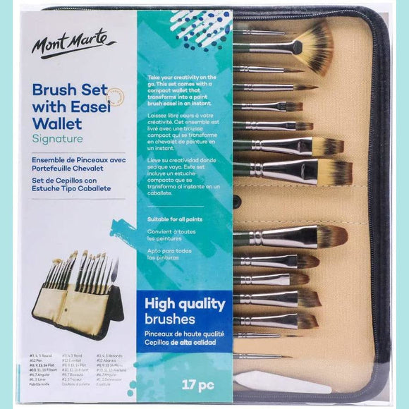 Mont Marte - Signature Brush Set with Easel Wallet 17pc