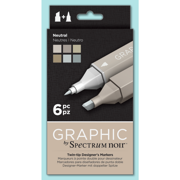 Spectrum Noir Dual Tip Alcohol Markers - Graphic - Neutral 6 pack