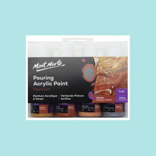 Mont Marte - Pouring Acrylic 120ml 4pc - Metallic