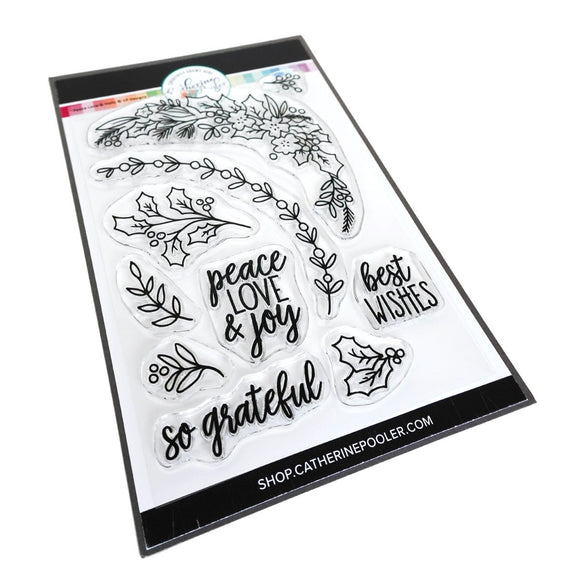 Catherine Pooler - Peace Love & Holly Stamp Set