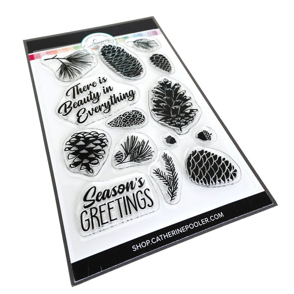 Catherine Pooler - Pinecone Greetings Stamp Set