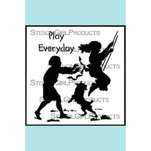 StencilGirl Play Everyday Pushed on a Swing