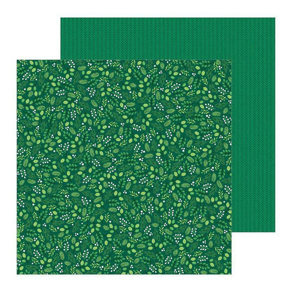 PEBBLES - Cozy and Bright Winter Green Scrapbook Paper  12 inch  x 12 inch