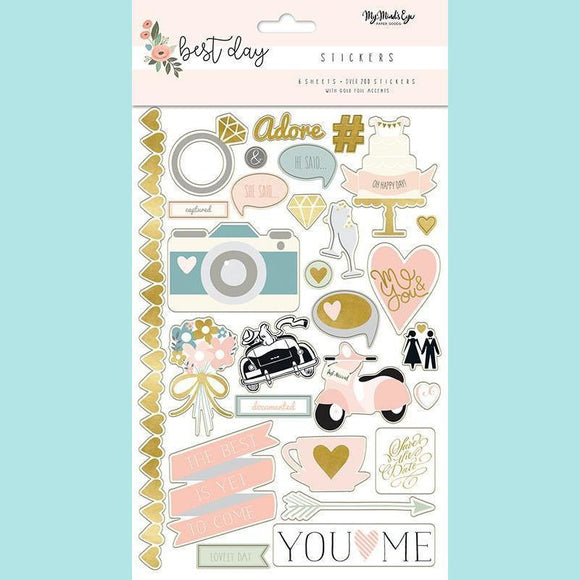 My Mind's Eye - Best Day Collection - Cardstock Stickers with Foil Accents