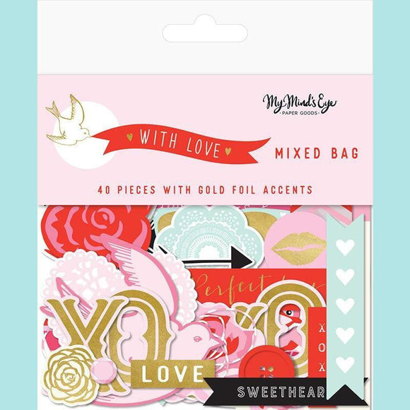 My Mind's Eye - With Love Collection - Ephemera - Mixed Bag with Foil Accents