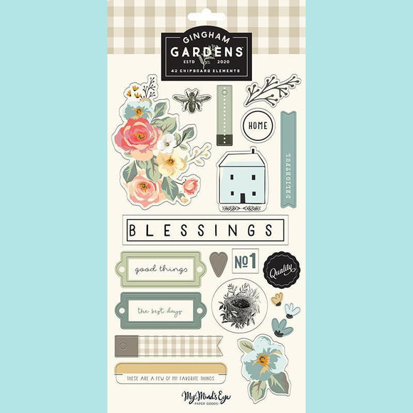 My Mind's Eye - Gingham Gardens Collection - Chipboard Embellishments