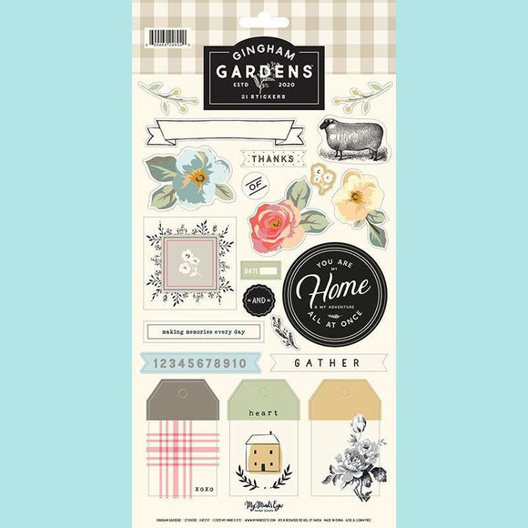 My Mind's Eye - Gingham Gardens Collection - 6 x 12 Cardstock Sticker Sheet