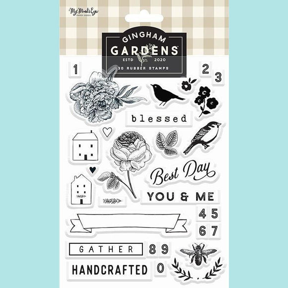 My Mind's Eye - Gingham Gardens Collection - Clear Acrylic Stamps