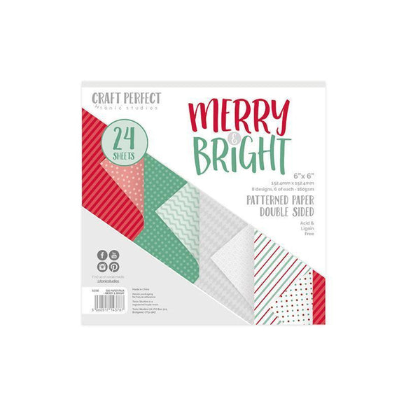 Tonic Studios - Merry and Bright Collection - Craft Perfect - Luxury Embossed Card - Merry & Bright - 6 x 6 Paper Pack - 24 Sheets