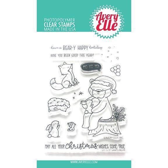 Avery Elle - Santa Bear Clear Stamps and Dies