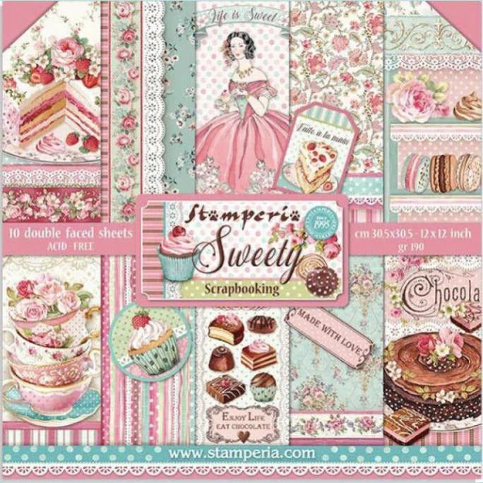"Stamperia - Block 10 Sheets 20.3X20.3 (8""X8"") Double Face Sweety"