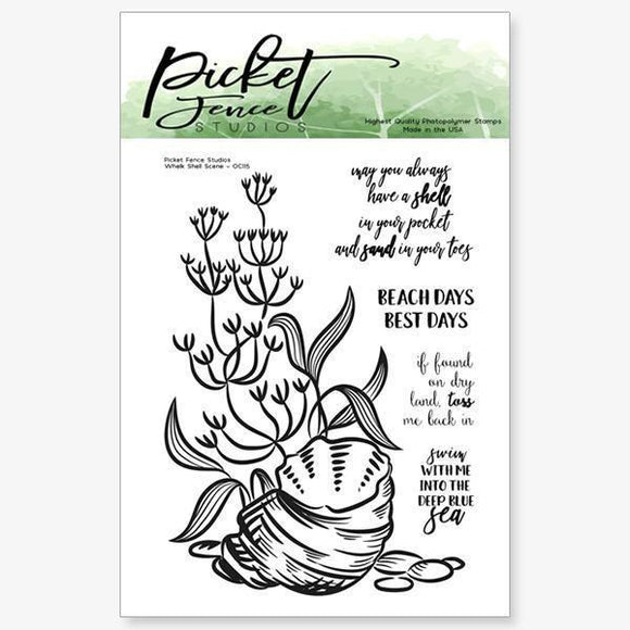 Picket Fence Studios - Whelk Shell Scene Stamp