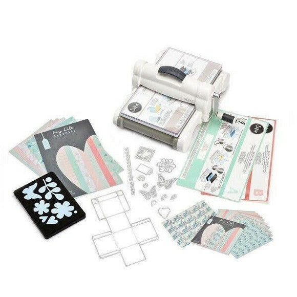 Sizzix Big Shot Plus Starter Kit (White & Gray) with My Life Handmade Cardstock & Fabric