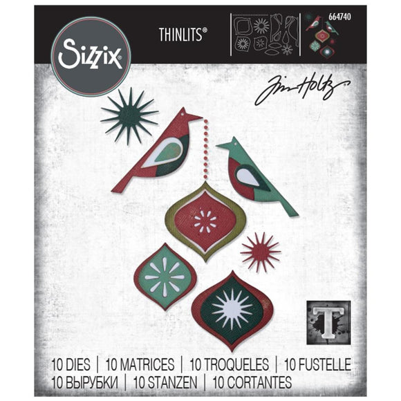 Sizzix - Thinlits Die Set 10PK - Ornamental Birds by Tim Holtz