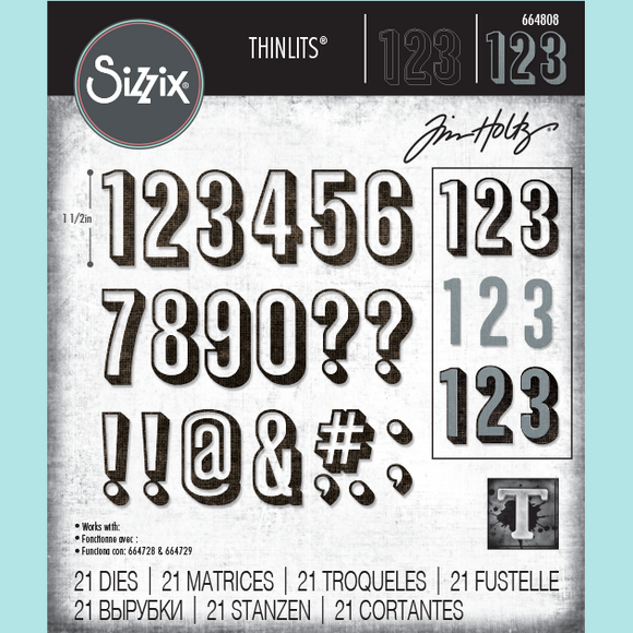 Sizzix - Thinlits Die Set 21PK - Alphanumeric Shadow Numbers by Tim Holtz