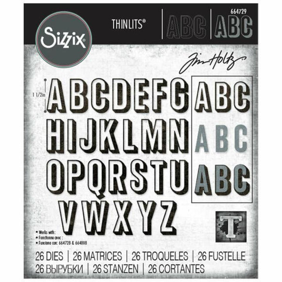 Sizzix - Thinlits Die Set 26PK - Alphanumeric Shadow Upper by Tim Holtz