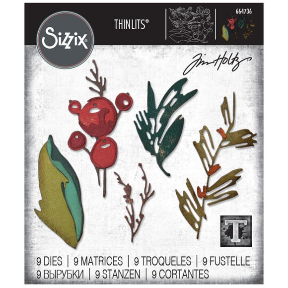 Sizzix - Thinlits Die Set 9PK - Holiday Brushstroke by Tim Holtz
