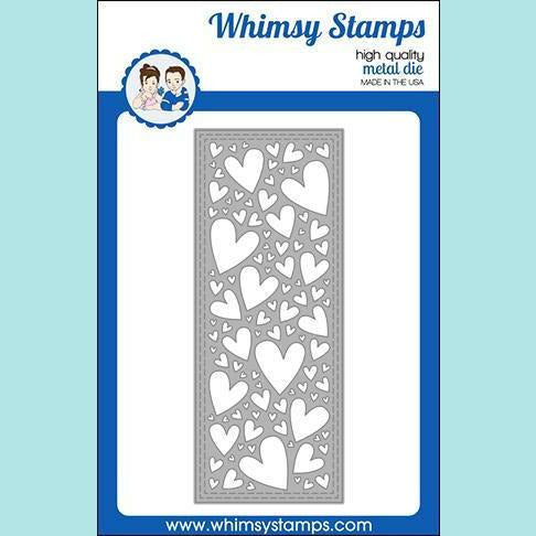 Whimsy Stamps - Slimline Hearts Background Die