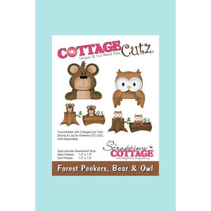CottageCutz Die - Forest Peekers, Bear & Owl