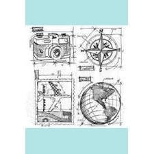 Tim Holtz Stampers Anonymous Travel Blue Print CMS148