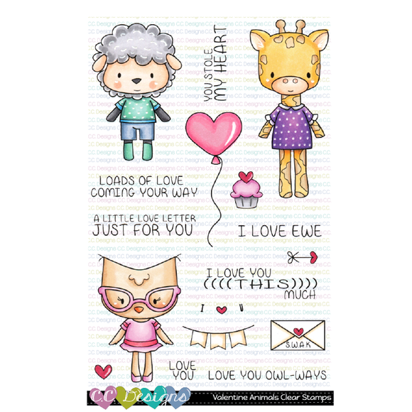 C.C. Designs - Valentine Animals Clear Stamp