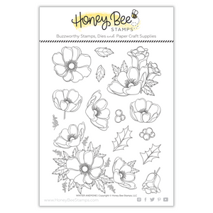 Honey Bee Stamps - Winter Anemone Stamp and Die
