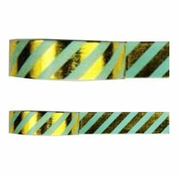 Amazing Value Washi Tape - Green Background with Gold Foil Zig Zag Design