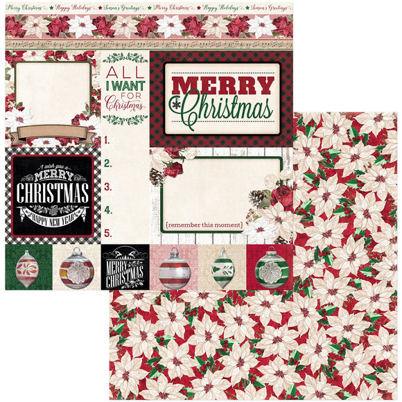 BoBunny - Joyful Christmas Patterned Paper  - 12 X 12 - Merry