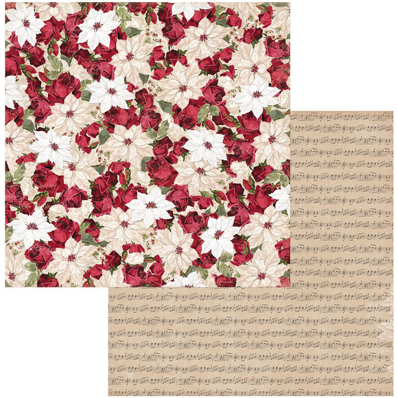 BoBunny - Joyful Christmas Patterned Paper  - 12 X 12 - PoinsetiaBoBunny - Joyful Christmas Patterned Paper  - 12 X 12 - Poinsettia