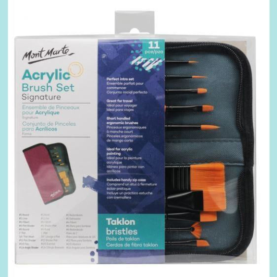 Mont Marte - Brush Set in Wallet 11pc - Acrylic
