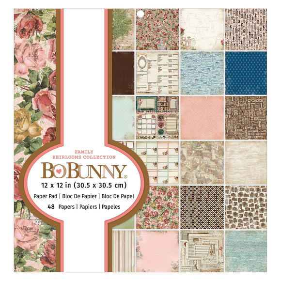 BoBunny - Patterned Paper - Family Heirlooms - 12 X 12 - Paper Pad - 48 Sheets