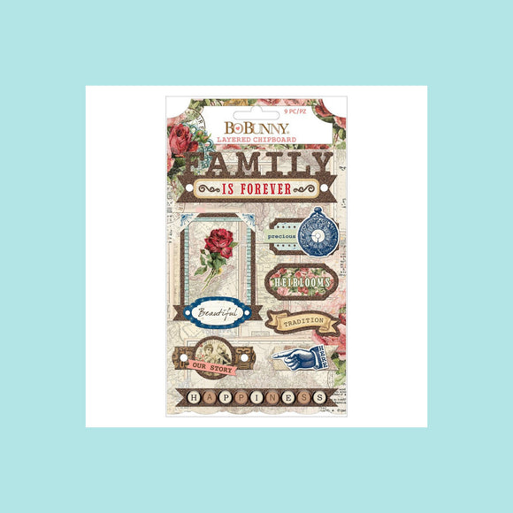 BoBunny - Sticker - Family Heirlooms - Layered Chipboard - Iridescent Jewel and Copper Glitter