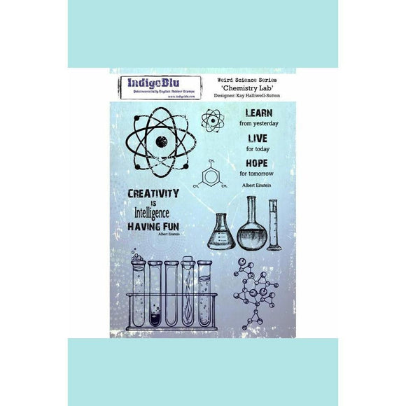 IndigoBlu Chemistry Lab A5 Red Rubber Stamp - by Kay Halliwell-Sutton