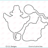 C.C. Designs Clowns Clear Stamp and Clowns Outline Metal Die