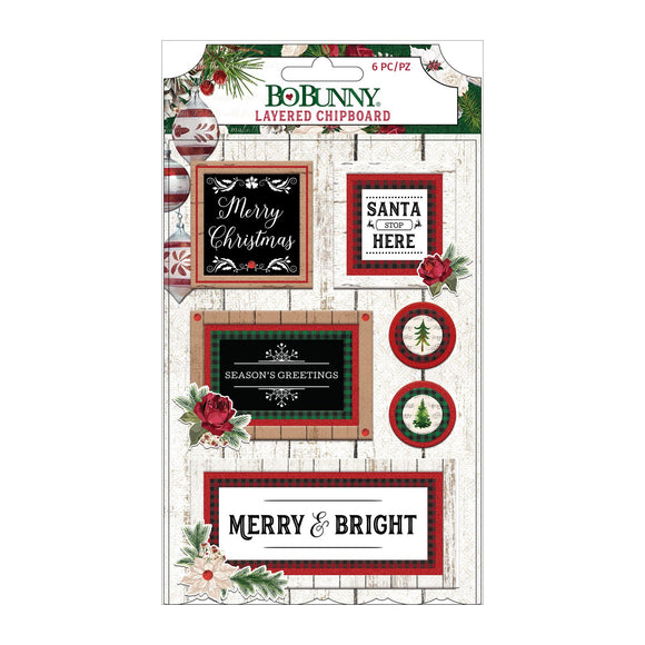 BoBunny - Joyful Christmas - Chipboard Red Glitter 6 piece
