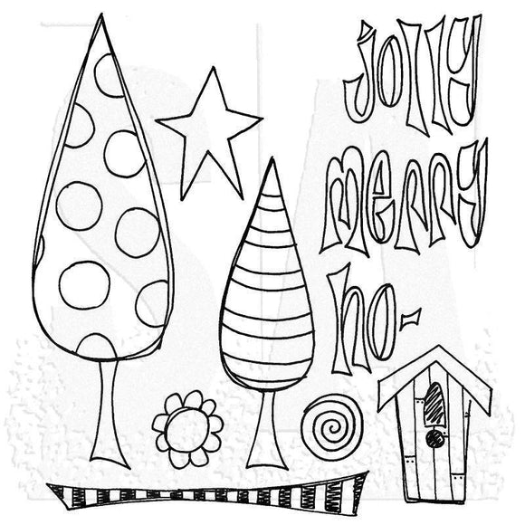 Ranger - Dyan Reaveley - Dylusions  Cling Mount Stamps: One Two Tree