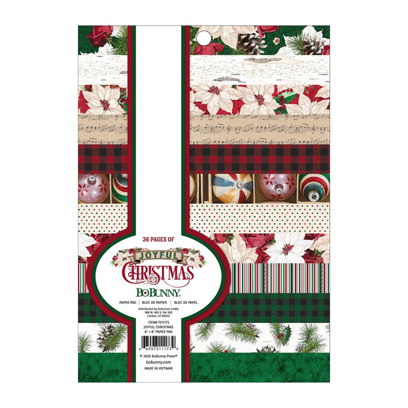 BoBunny - Joyful Christmas Patterned Paper Pad  - 6 X 8 - 36 Sheets