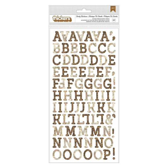 BoBunny - Thickers - Family Heirlooms - Alphabet Chipboard (177 pieces)