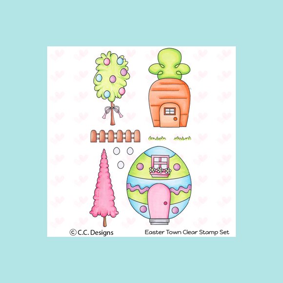 C.C. Designs Easter Town Clear Stamp and Die Sets