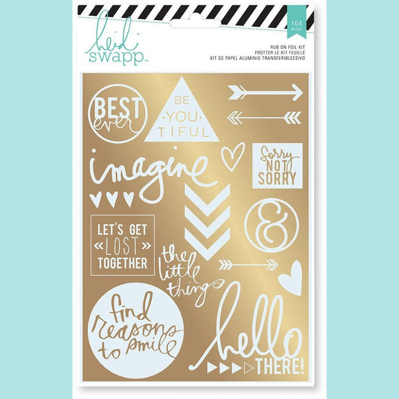 American Crafts - Rub-on Foil Kits -HS- Wanderlust - Sentiments (21 piece)